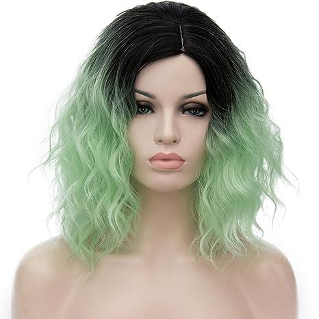ATAYOU® Short Curly Ombre Sintético Cosplay Bob Pelucas con Raíces Oscuras para Mujer Disfraz con