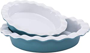 Hompiks Pie Pan Pie Dish 9 Inch Pie Pans for Baking Oven Kitchen Porcelain Pie Plate Blue Pie Dishes for Apple Pie Pumpkin Pie