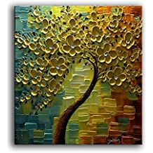 YaSheng Art - 3D Oil Paintings On Canvas Golden Flowers Tree Paintings Abstract Artwork Wall Art For living Room,Dinning Room Home Decor Framed Stretched Ready to Hang 24x24inch
