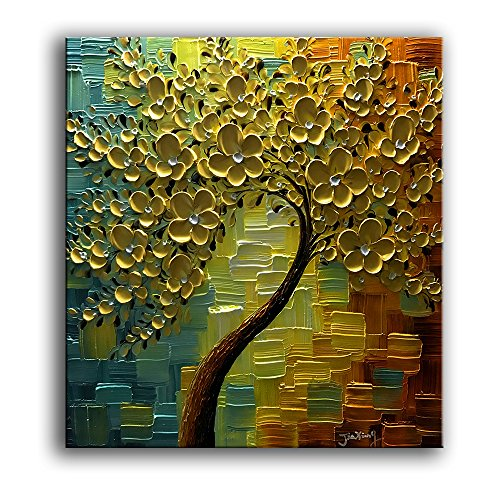 YaSheng Art - 3D Oil Paintings On Canvas Golden Flowers Tree Paintings Abstract Artwork Wall Art for Living Room,Dinning Room Home Decor Framed Stretched Ready to Hang 24x24inch -