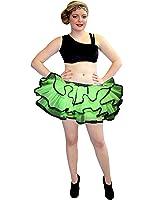 Neon UV Green & Black Bustle Frill Lilly Trim Tutu Skirt