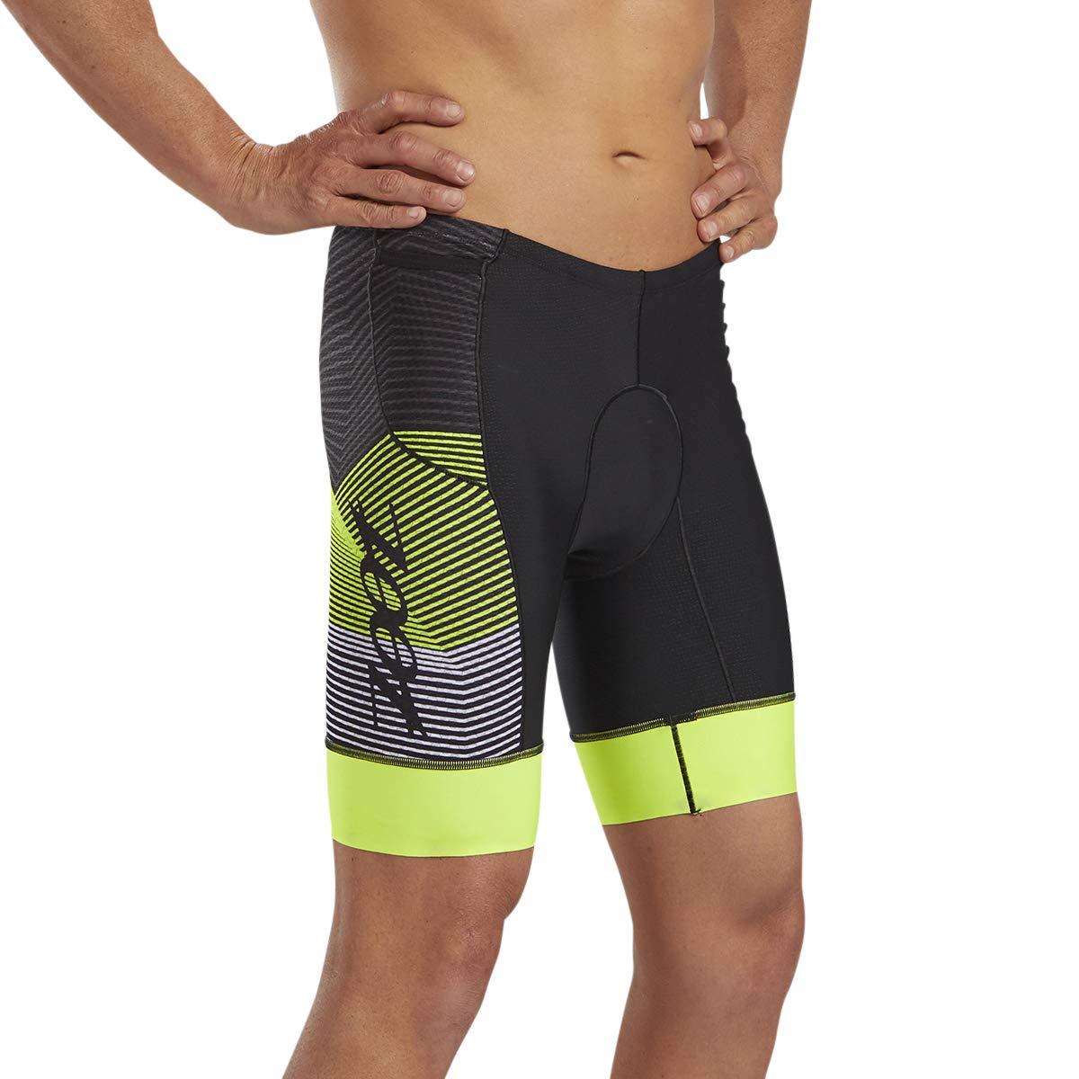 Zoot Ultra Mens 9-Inch Tri Shorts Performance Triathlon Shorts Carbon Fabric Hip Holster Pockets