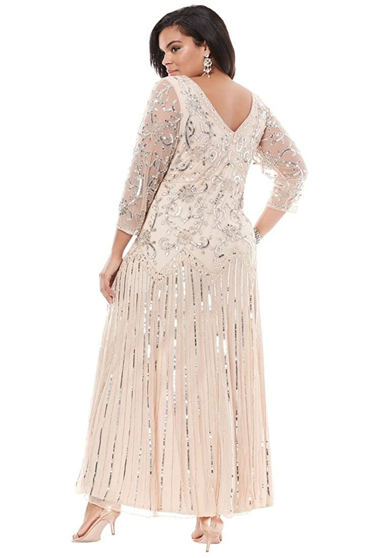 ea55625269a Roamans Pisarro Nights Women s Plus Size Pisarro Nights 3 4 Sleeve Beaded  V-Neck Dress - Pink - 20 Plus  Amazon.co.uk  Clothing