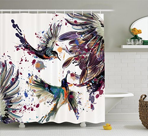 Hummingbirds Decorations Shower Curtain Set by Ambesonne, Art with Lily Flowers Birds and Color Splashes in Watercolor Painting Style, Bathroom Accessories, 75 Inches Long, Orange Blue (Birds Shower Curtain)