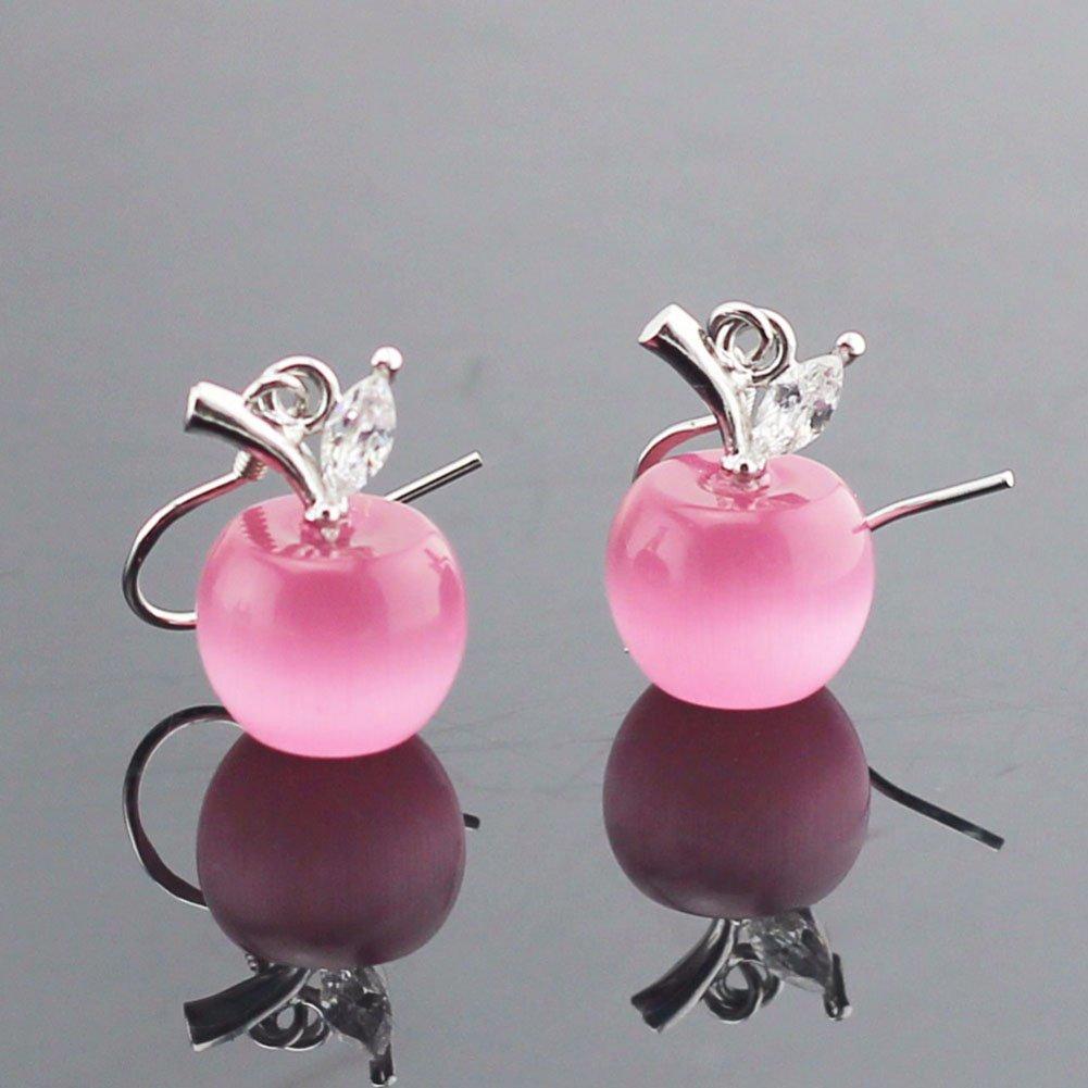 Emorias 1/paire Lovely Lady Fille en forme de pomme Boucles doreilles Mode Clous doreille perle Boucles doreilles bijoux Accessoires Amant Cadeau