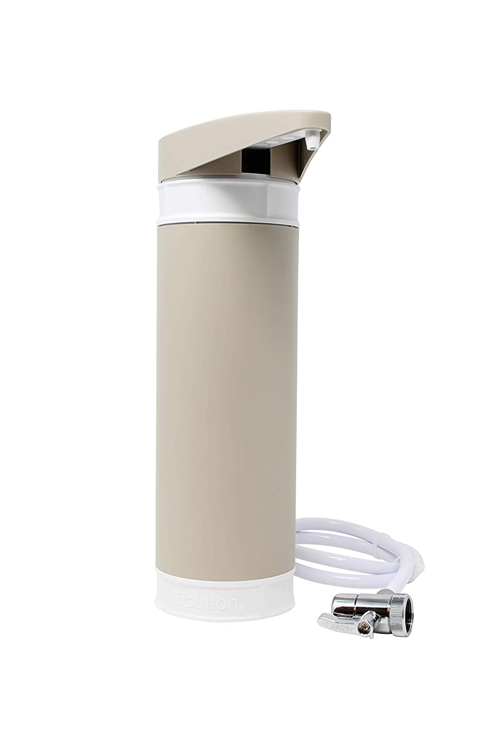 Doulton Filtadapt Countertop Drinking Water Filter Housing in Pebble with a Doulton BioTect Ultra Ceramic Drinking Water Filter Cartridge Candle ¦ Easy Tap fit ¦ 10 inch ¦ M12 thread ¦ W9331310 DOULTON-W9331310