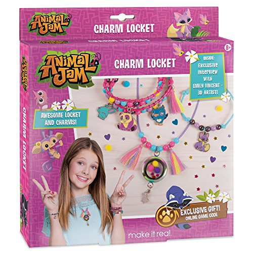 Make It Real - Animal Jam Charm Locket. DIY Animal Jam Themed Locket and Charms Jewelry Making Kit for Girls. Design and Craft Animal Jam Floating Charm Locket Necklace and Charm Bracelets