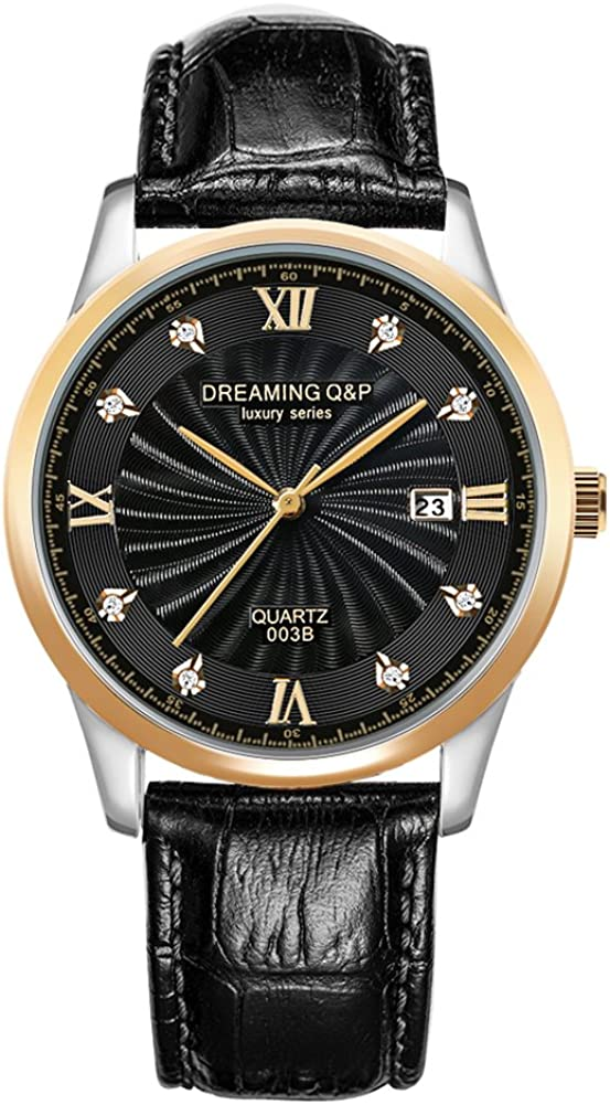 IP Gold Plating Steel Roman Numeral Dial with Rhinestones Mens Wrist Watches for Man Black 003
