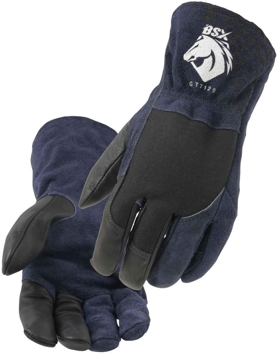 Black Stallion GT7120-NB BSX Grain Goatskin /& Flame-Resistant Stretch Knit Cotton TIG Glove Small