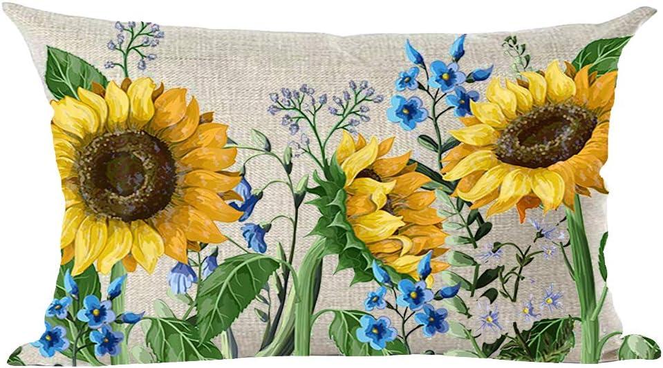 ramirar Watercolor Yellow Sunflowers Blue Flowers Summer Decorative Lumbar Throw Pillow Cover Case Cushion Home Living Room Bed Sofa Car Cotton Linen Rectangular 12 x 20 Inches