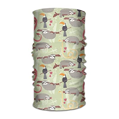 Hong Yi Fang Cute Sloth Tree Unisex Bandanas Beanie Cap Turban Headscarf Sweatband Headwear Headscarf