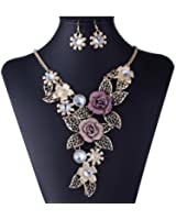 Luxury Necklace,Han Shi Women Elegant Vintage Flower Statement Necklace Earrings Jewelry Set