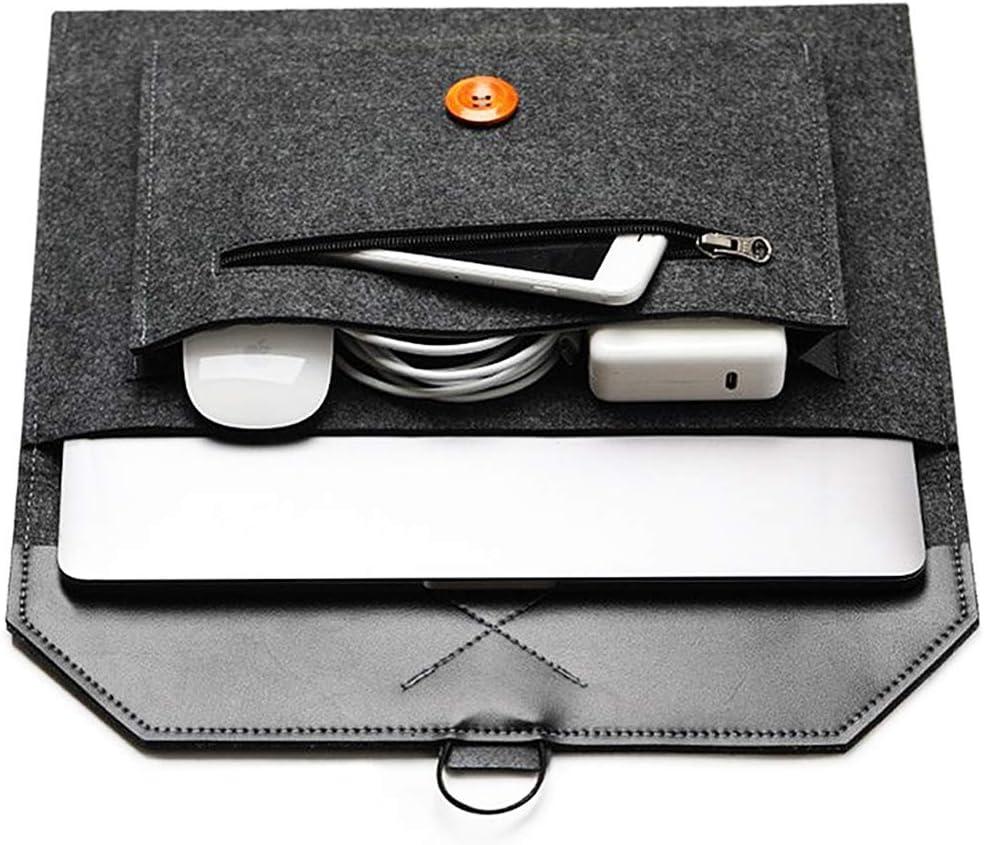 "Felt Laptop Envelope Sleeve 14-15.4 Inch - ABRONDA Felt Expandable Large Space Envelope Case Compatible MacBook Pro 15 / Retina, Also fit 13"" 14"" Ultrabook Netbook X1 Carbon Surface Book- Black"