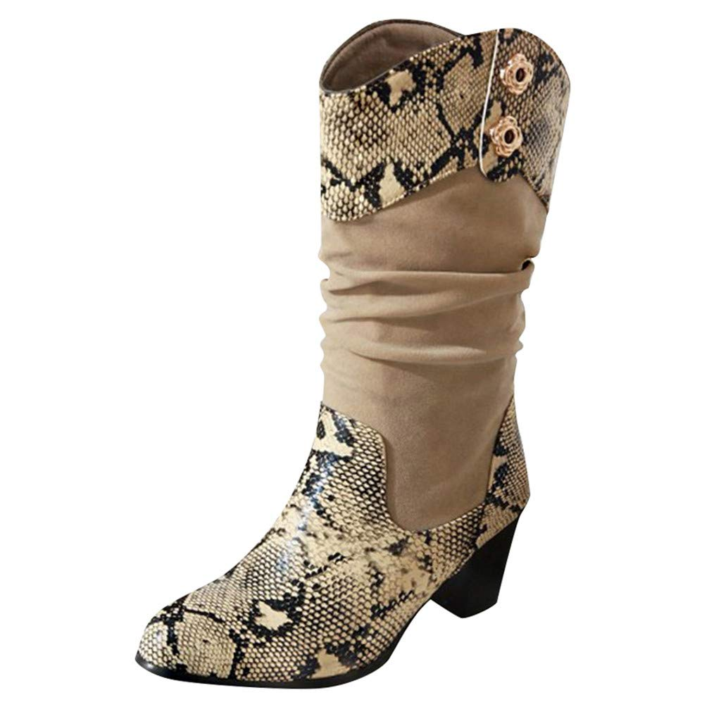 Kiminana Autumn Stitching Snakeskin Pattern Boots High Shoes Boots Snakeskin Pattern Thick Pointed Toe Zip Belt Booties Beige by Kiminana