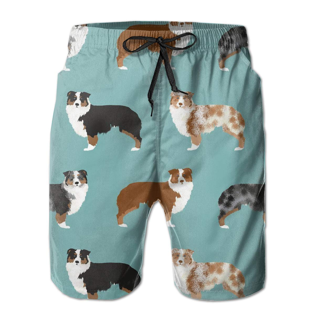 Mens 3D Print Australian Shepherds Dogs Casual Classic Drawstring Loose Fit Trunks Boardshort Shorts
