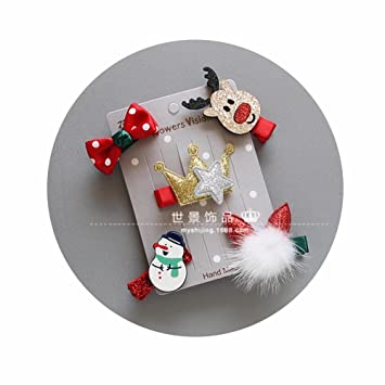ceee767a7ceea Amazon.com   5 PCS Christmas Hair Bows in Pairs Hair Clips Bows Hairpin  Girls Children Headwear Ornaments Headdress for Baby Girls Toddlers   Beauty