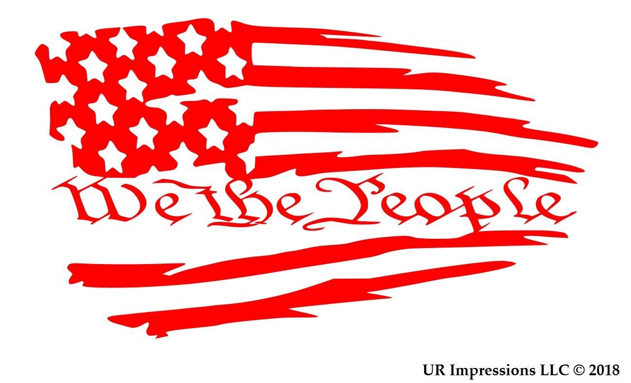 19c4360b4f2b0d Amazon.com  UR Impressions ABlu Tattered American Flag - We The People Decal  Vinyl Sticker Graphics Car Truck SUV Van Wall Window Laptop