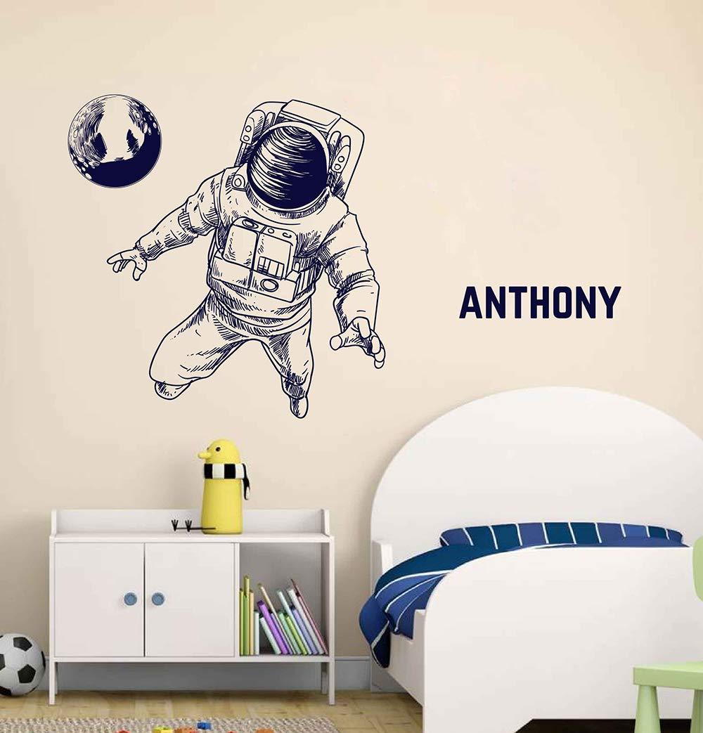 B61 Football astronaut space on the moon Wall sticker-Vinyl Bedroom Door