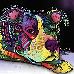 Dean Russo Dog Love Quote Modern Animal Decorative Art Poster Print, Unframed 12x12