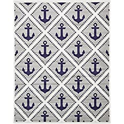 Unique Loom Metro Collection Modern Nautical Geometric Anchor Gray Area Rug (8' x 10')