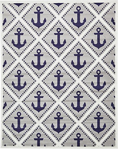Unique Loom Metro Collection Modern Nautical Geometric Anchor Gray Area Rug (8' 0 x 10' ()