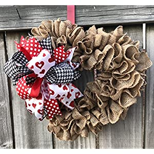 Valentine Wreath Decor | Burlap Heart Shaped Wreath | Door Hanger | Wall Decor | Burlap Bowtique | FREE Shipping 69