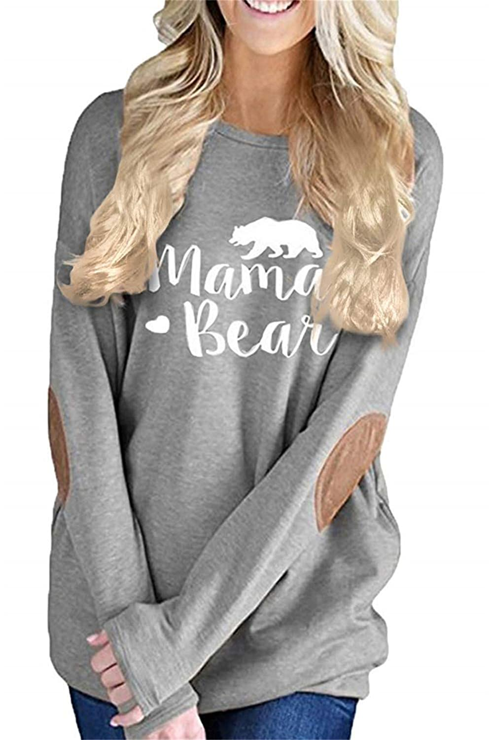 onlypuff Casual Tops for Women Long Sleeve Mama Bear Shirts Folral Print Tunics