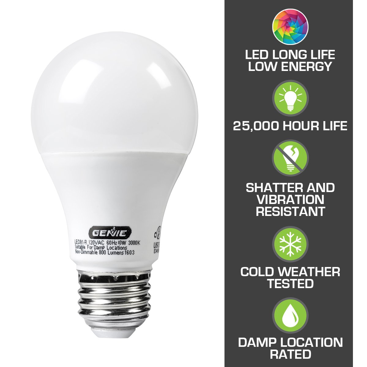 Genie Led Garage Door Opener Light Bulb 60 Watt 800 Lumens