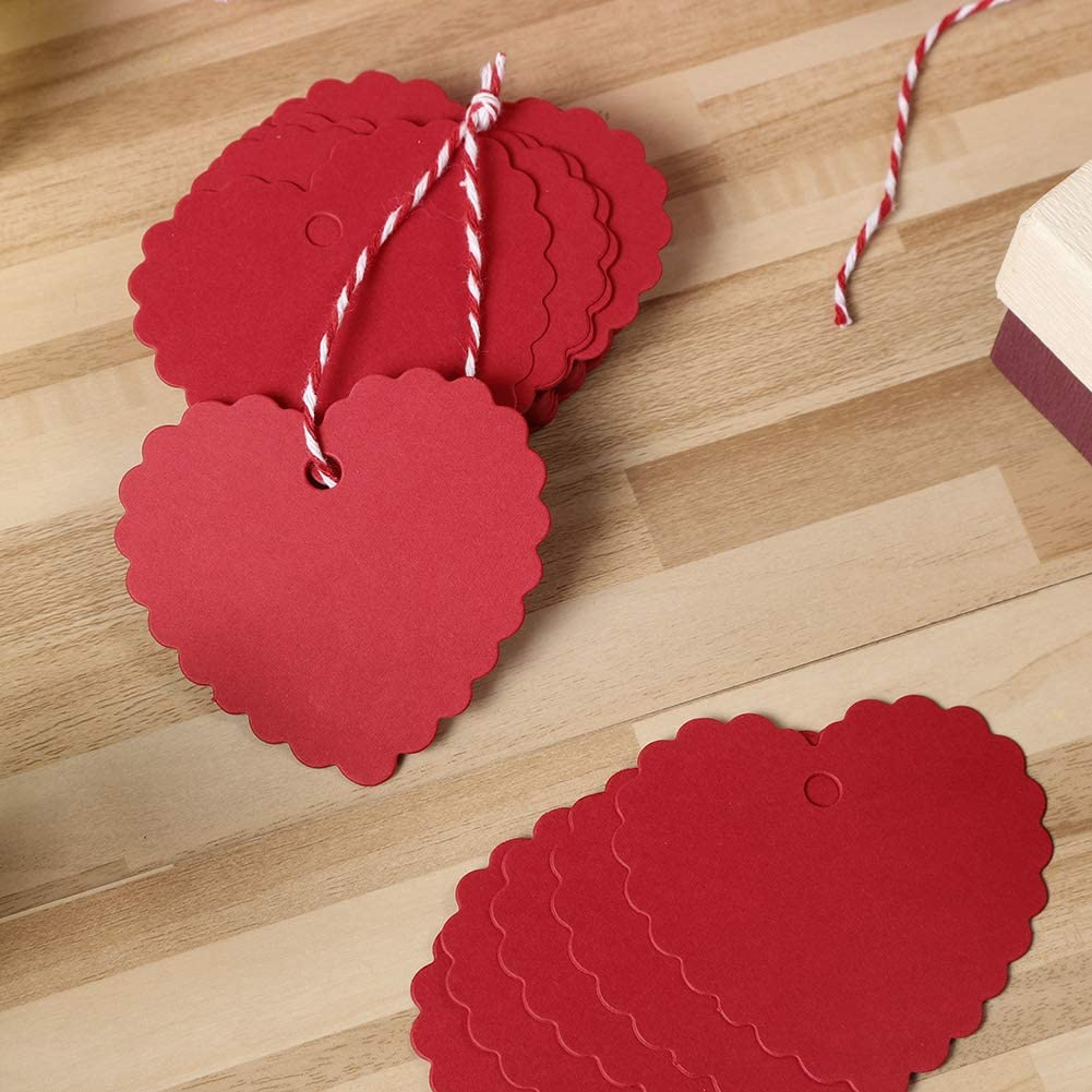 Spiralization Direct 300 Pcs Heart Shape Kraft Paper Gift Tags Heart Hang Tags Labels for DIY Arts Valentines Day Wedding Gift Party Decoration Red
