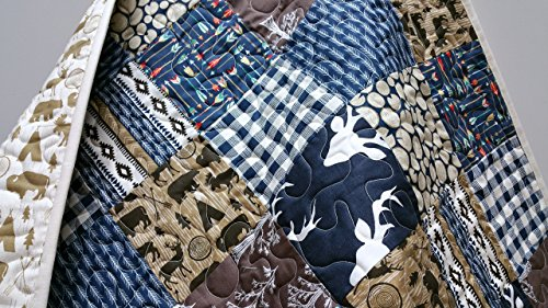 Rustic Baby Boy Quilt - Mix - Woodland, Lumberjack, Navajo, Tribal, Southwest, in Navy and Brown by Now and Then Quilts