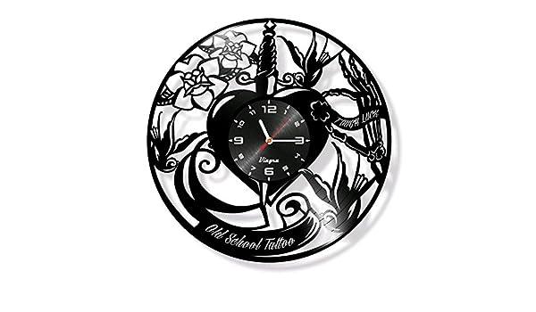 Old School, diseño de disco de vinilo reloj adhesivo de corazón decoración de la pared vieja escuela arte adhesivo decoración Old School - Adhesivo ...