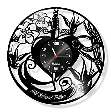 Old School, diseño de disco de vinilo reloj adhesivo de corazón decoración de la pared
