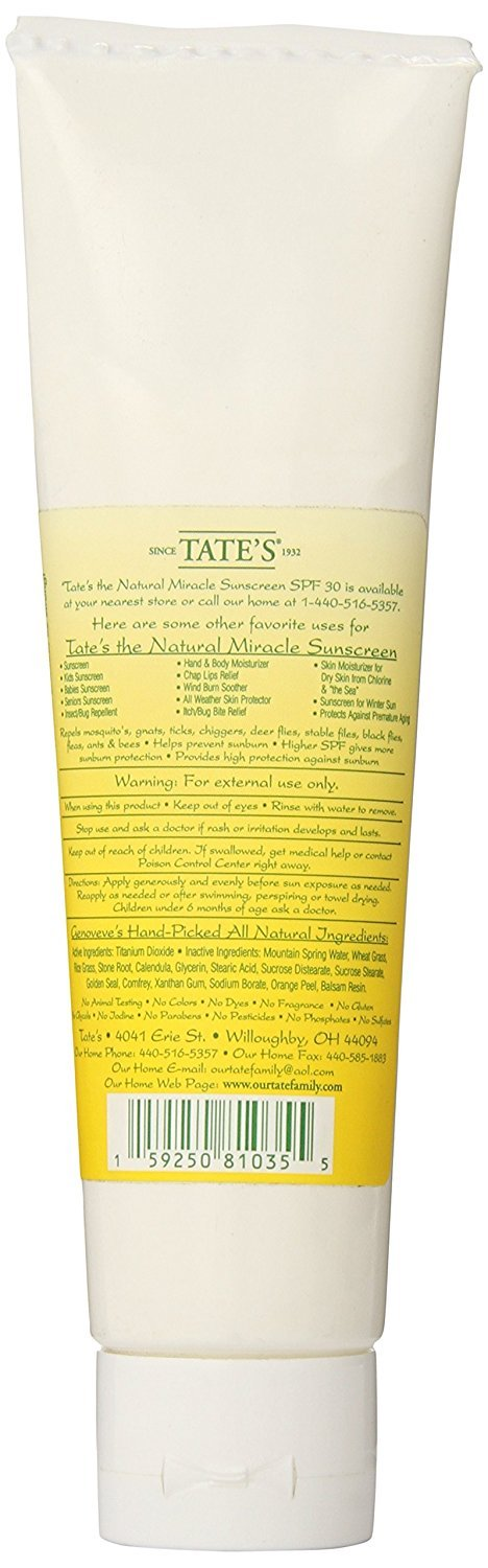 Tate s The Natural Miracle Sunscreen – SPF 30 4 oz.