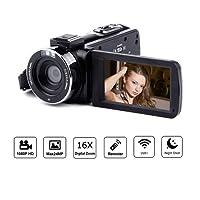 OKEU 24MP Videocamere Full HD 1080P, 3.0 Pollici Schermo LCD 30FPS 16X Zoom Digitale Visione Notturna Video Fotocamera Camera WiFi Supporto Microfono Telecomando Funzione Pause