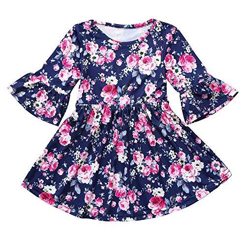 2018 Children Kids Clothing,Girls Long Sleeved Flower Floral Print Dance Dress (6-12 Months, Dark Blue) ()
