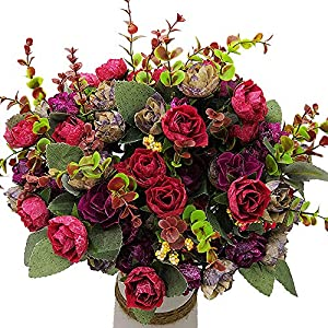 Grunyia Artificial Fake Flowers Silk Tiny Rose Flowers Wedding Bridal Bouquet Home Decoration,Pack of 4(Wine Red) 21