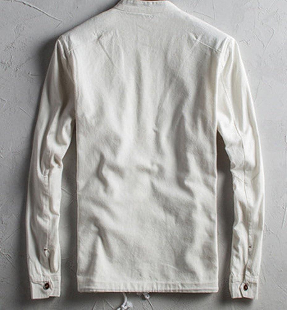 SK Studio Mens Vintage Slim Fit Solid Color Wrinkle Free Linen Shirt