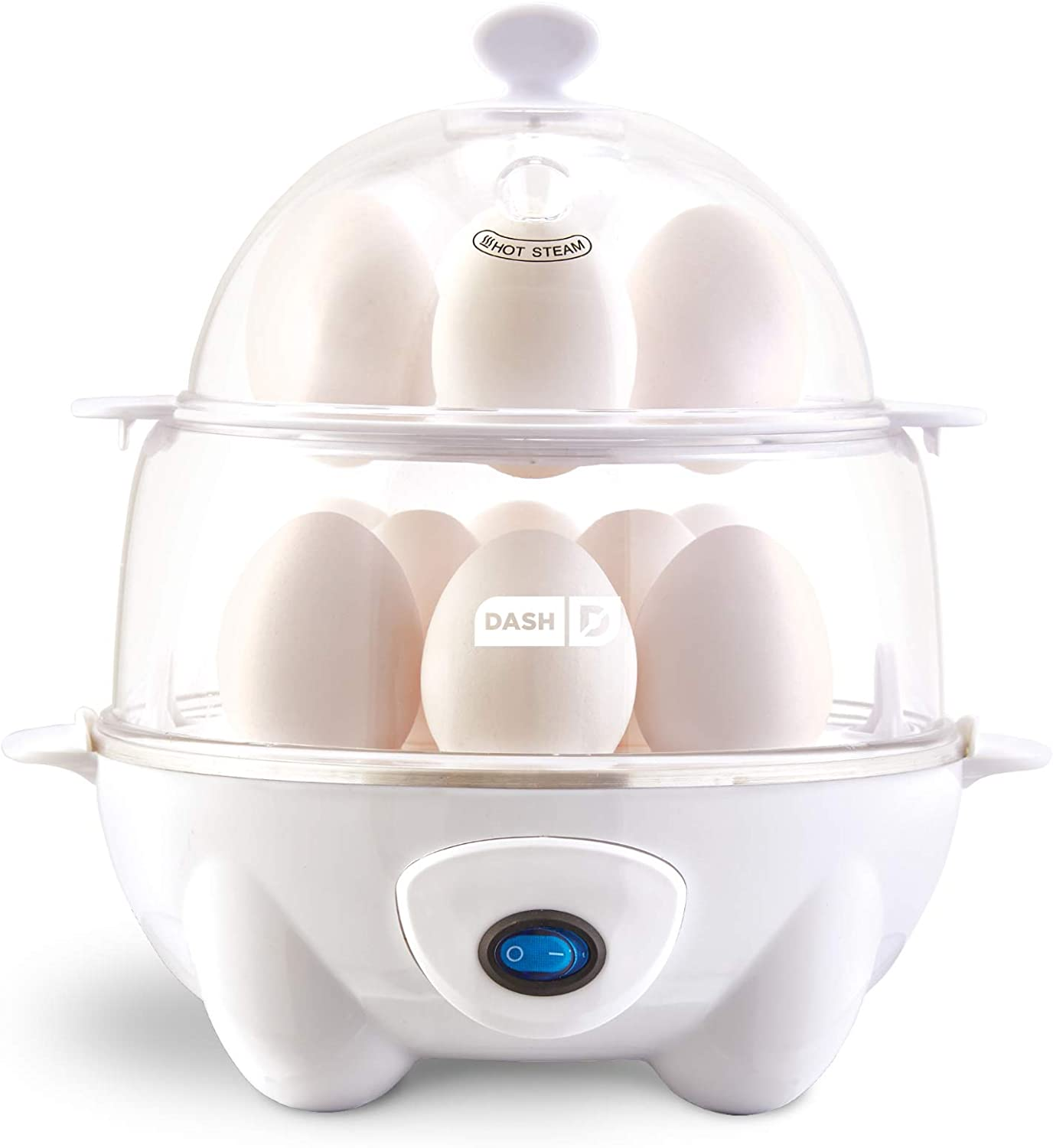 Dash Deluxe Rapid Egg Cooker: Electric, 12 Capacity for Hard Boiled, Poached, Scrambled, Omelets, Steamed Vegetables, Seafood, Dumplings & More, 1, White