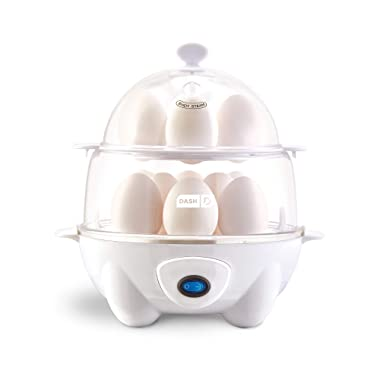 Dash DEC012WH Deluxe Rapid Egg Cooker: Electric, 12 Capacity for Hard Boiled, Poached, Scrambled, Omelets, Steamed Vegetables, Seafood, Dumplings & More White