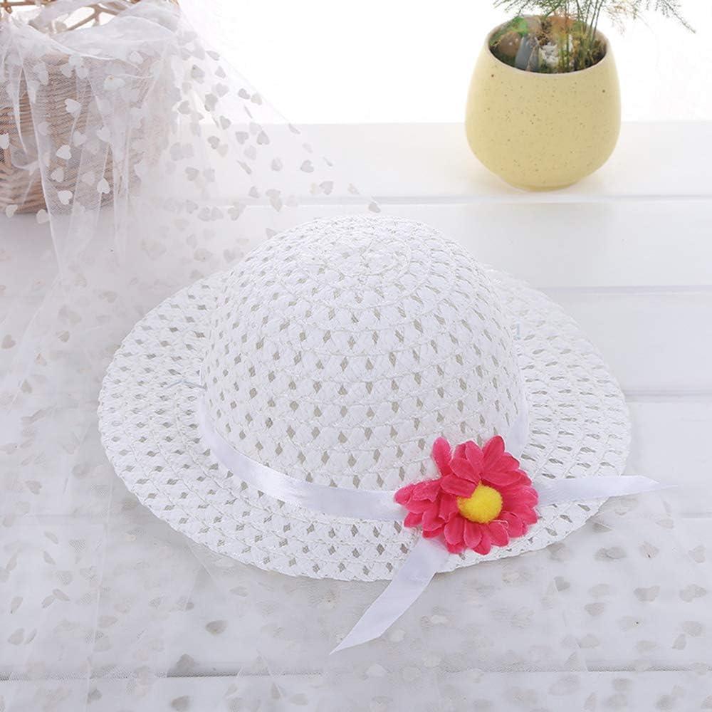XUMU Sombreros de Paja de Girasol para ni/ñas Sombreros de Fiesta de t/é Sombrero de Paja para ni/ñas Disfraz de Princesa de Pascua Suministros de cumplea/ños para ni/ños peque/ños