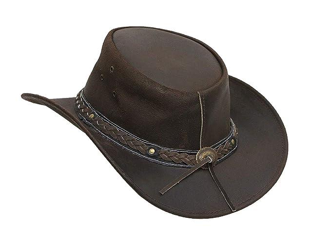 c5bd0d58460 Brandslock Mens Vintage Black and Brown Wide Brim Cowboy Aussie Style  Western Bush Hat at Amazon Men s Clothing store
