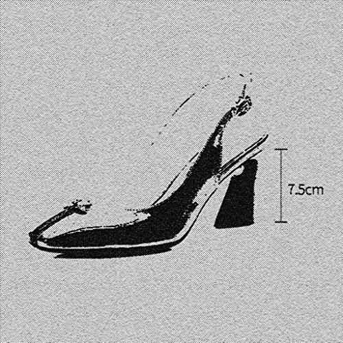 Noir Dos Taille Perles UK3 MUMA 5 Verni Noir Couleur Talon Sandales tête Cuir carrée vides Escarpin Chaussures CN35 EU36 Noir Bleu Femelle Rugueux HTqwxTXO8