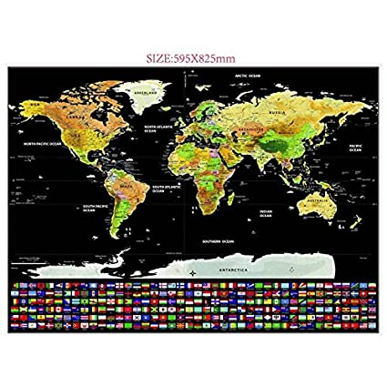 Amazon black gold edition large deluxe scratch off world map black gold edition large deluxe scratch off world map poster print with country flags gumiabroncs Images