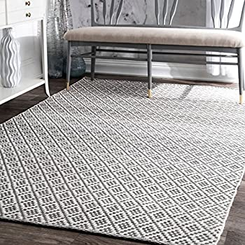 nuLOOM HMCO5E-8010 Cottage Collection Hand Made Area Rug, 8' x 10', Grey