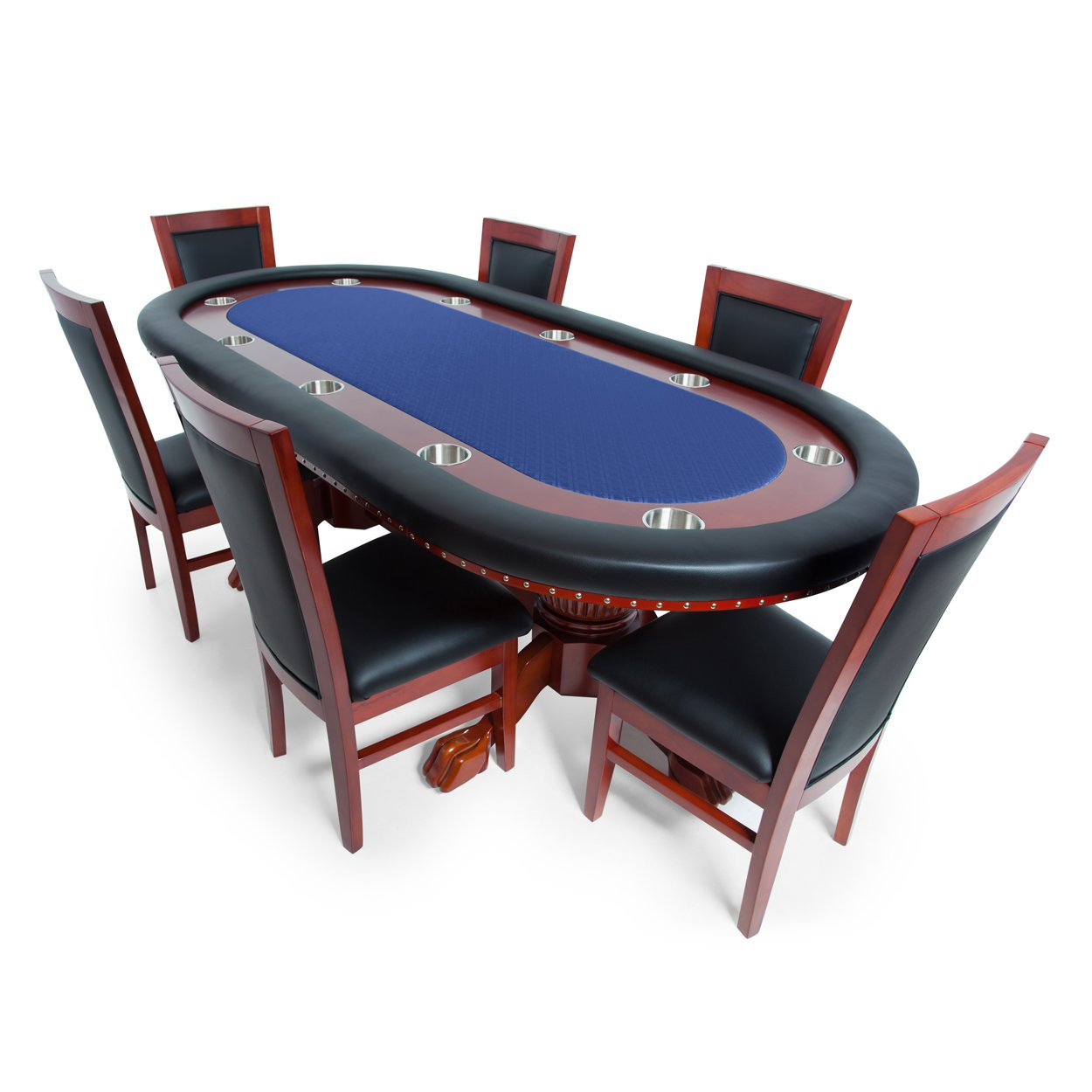 BBO Poker Rockwell Poker Table for 10 Players with Blue Speed Cloth Playing Surface, 94 x 44-Inch Oval, Includes 6 Dining Chairs
