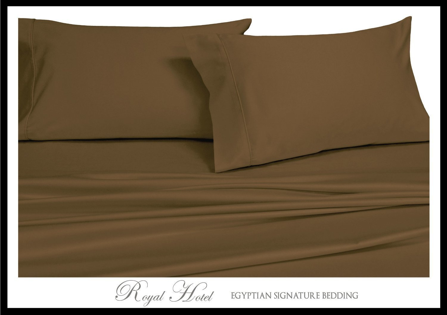 Royal's Solid Taupe 1200 Thread Count 4pc Queen Bed Sheet Set 100% Cotton, Sateen Solid, Deep Pocket