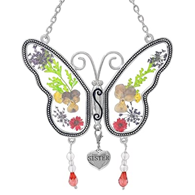 "BANBERRY DESIGNS Sisters Butterfly Sun Catcher - Dried Flowers and Sister Charm - 4 1/4"" : Garden & Outdoor"