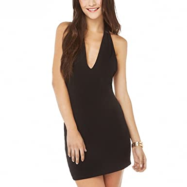 f3d9c35afc3 Image Unavailable. Image not available for. Color  Womens Soild Black  Zippers Back Sleeveless Bodycon Dress Deep V-Neck Backless Mini Dress Sexy