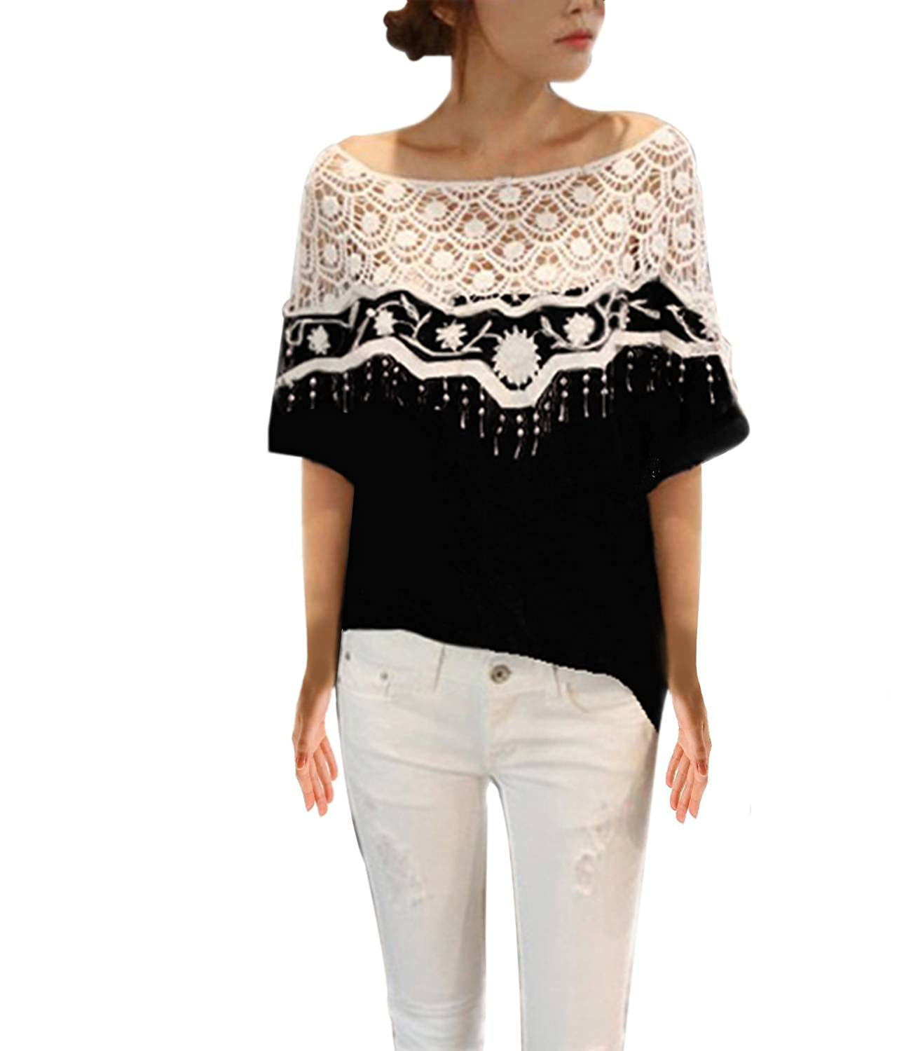 bdcb27dd7856a Sexy Womens Hollow Crochet Lace Floral Poncho Shoulder Blouse Short Batwing  Sleeve T Shirt Top Black 3XL  Amazon.co.uk  Clothing