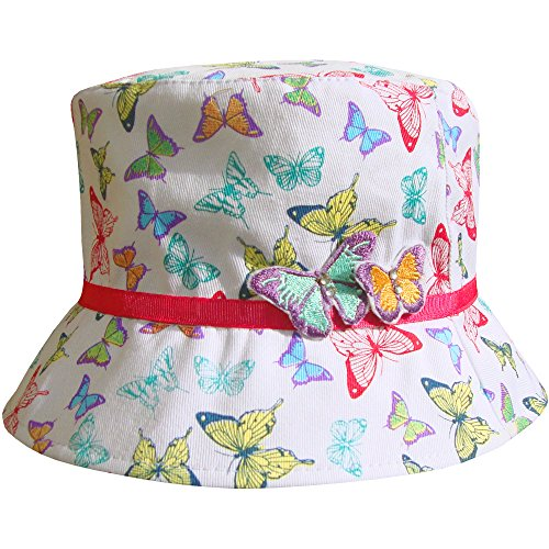 Girl's 3D Rainbow Butterfly Bucket Style Summer Sun Beach Hat (3-5 Years - Sun Girls Uk